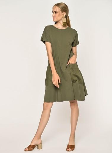 Loves You Cep Detaylı Likra Supreme Elbise Haki